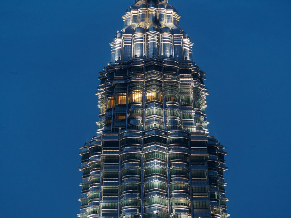 One of the Petronas Towers, Kuala Lumpur, at night